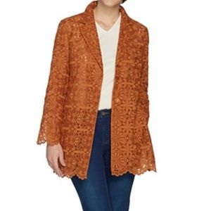 Susan Graver woven embroidered jacket 10